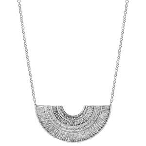 Collier en argent rhodié pendentif ethnique éventail 40+4cm - Vue 2