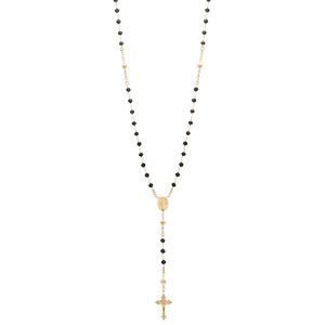 Collier en argent et dorure jaune chapelet avec perles en verre facette noires 50+5cm - Vue 2