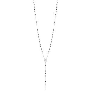 Collier en argent rhodié chapelet avec perle noire 45cm - Vue 2