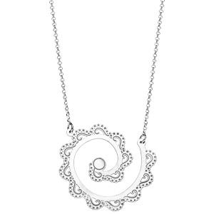 Collier en argent rhodié ethnique motif spirale avec vagues ajourées 40+5cm - Vue 2
