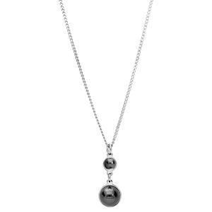 Collier en argent rhodié avec Pendentif 2 pierres rondes noires en verre de swarrovski 40+4cm - Vue 2