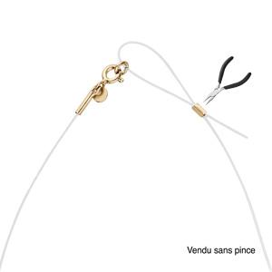 Collier en argent et dorure jaune fil nylon réglable jusqu\'a 50cm - Vue 2