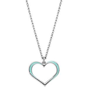 Collier en argent rhodié chaîne avec pendentif coeur couleur turquoise 42+3cm - Vue 2