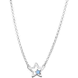 Collier en argent rhodié étoile avec petite étoile bleue 35+5cm - Vue 2