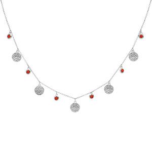 Collier en argent rhodié pampilles antiques et perles couleur corail 40+4cm - Vue 2