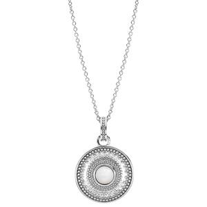 Collier en argent rhodié forme chaîne avec pendentif rond et Nacre véritable 40+4cm - Vue 2