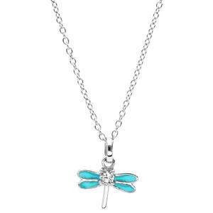 Collier en argent rhodié chaîne avec pendentif libellule couleur turquoise et oxydes blancs sertis 36+2cm - Vue 2