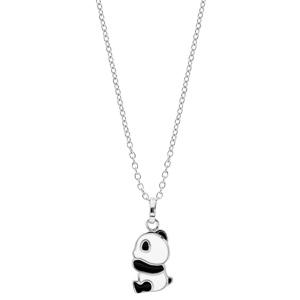 Collier en argent rhodié chaîne avec pendentif panda noir et blanc 36+2cm - Vue 2