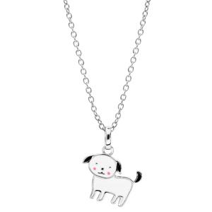 Collier en argent rhodié chaîne avec pendentif chien noir et blanc 36+2cm - Vue 2