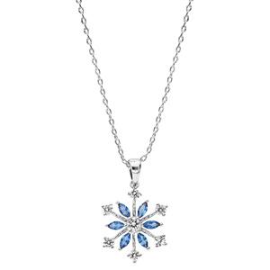 Collier en argent rhodié chaîne avec pendentif flocon de neige oxydes blancs sertis et navettes bleues 40+5cm - Vue 2