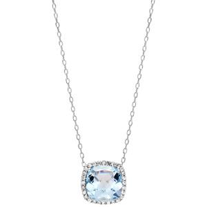Collier en argent rhodié massif collection joaillerie chaîne avec pendentif gros carré Topaze bleue contour oxydes blancs sertis 40+5cm - Vue 2