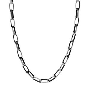 Collier en argent patiné maille rectangulaire longueur 55cm - Vue 2