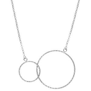 Collier en argent rhodié 2 cercles diamantés entrelacés 42+5cm - Vue 2