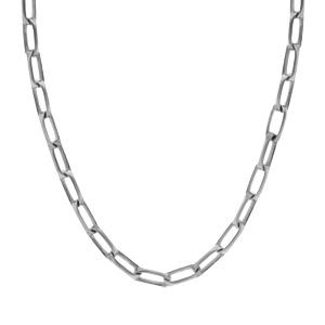 Collier en argent passivé maille rectangulaire longueur 55cm - Vue 2