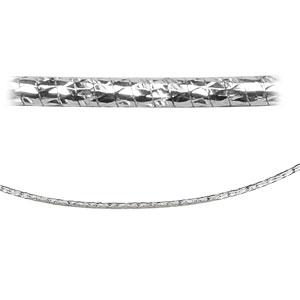 Collier en argent rhodié maille oméga diamantée - largeur 1mm et longueur 42cm - Vue 2