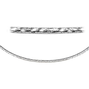 Collier en argent rhodié maille oméga diamantée - largeur 1,6mm et longueur 42cm - Vue 2