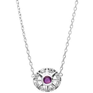 Collier en argent rhodié chaîne avec pendentif rond avec motif et Amethyste véritable 42cm - Vue 2