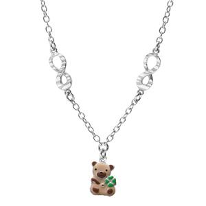 Collier en argent rhodié chaîne avec pendentif ourson et motif infini 35+5cm - Vue 2