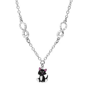 Collier en argent rhodié chaîne avec pendentif chat noir et rose et motif infini 35+5cm - Vue 2