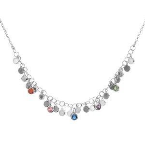 Collier en argent rhodié pampilles soleil et pierres multi couleurs 39+5cm - Vue 2
