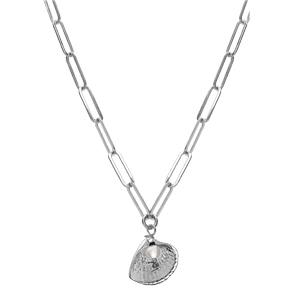 Collier en argent rhodié chaîne avec pendentif coquillage et Pierre de Lune 38+5cm - Vue 2