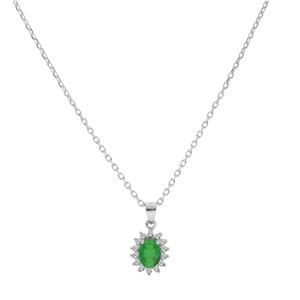 Collier en argent rhodié chaîne avec pendentif fleur d\'Emeraude véritable contour de Topazes blanches serties 42+3cm - Vue 2