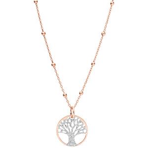 Collier argent et dorure rose chaîne avec pendentif arbre de vie granité 15mm 38+5cm - Vue 2