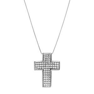 Collier en argent rhodié chaîne avec pendentif croix large ornée de pierres blanches 45cm - Vue 2