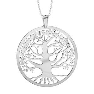 collier en argent rhodi cha ne avec pendentif gros cercle avec arbre de vie l 39 int rieur. Black Bedroom Furniture Sets. Home Design Ideas