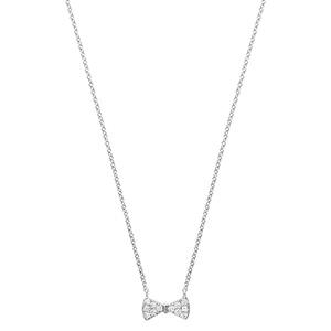 Collier en argent rhodié chaîne avec pendentif noeud papillon orné d\'oxydes blancs sertis - longueur 40cm + 4cm de rallonge - Vue 2