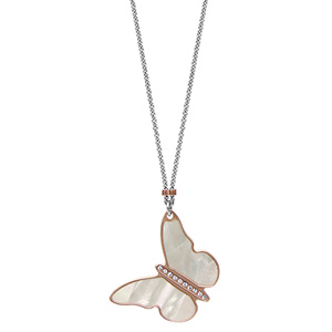 collier en argent rhodi cha ne avec pendentif papillon en pvd rose avec nacre blanche v ritable. Black Bedroom Furniture Sets. Home Design Ideas