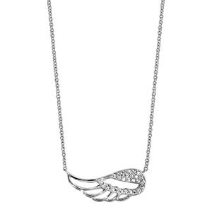 Collier en argent rhodié chaîne avec pendentif aile d\'ange ajourée et ornée d\'oxydes blancs sertis - longueur 40cm + 4cm de rallonge - Vue 2