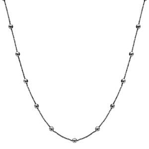Collier en argent et rhodium noir maille margherita avec boules lisses à intervalles réguliers - longueur 40cm + 4cm de rallonge - Vue 2