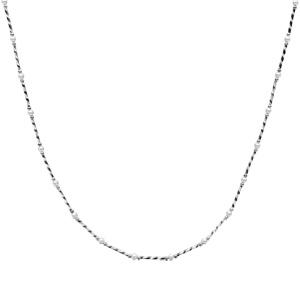 Collier en argent rhodié tubes striés et perles blanches de culture d\'eau douce 41+3cm - Vue 2