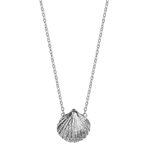 Collier en argent rhodié chaîne avec pendentif coquillage - longueur 42cm + 3cm de rallonge - Vue 2