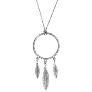 Collier en argent rhodié chaîne avec pendentif anneau avec 3 plumes suspendues - longueur 47cm - Vue 2