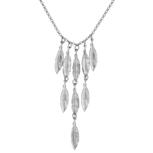 Collier en argent rhodié chaîne avec pampilles plumes en cascade - longueur 42cm - Vue 2