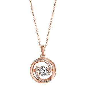Collier Dancing Stone en argent et dorure rose chaîne avec pendentif rond et 2 extrémités en spirales ornées d\'oxydes blancs - longueur 42cm + 3cm de rallonge - Vue 2