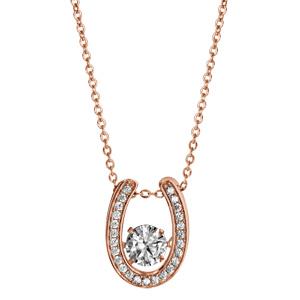 Collier Dancing Stone en argent et dorure rose chaîne avec pendentif fer à cheval et oxydes blancs - longueur 42cm + 3cm de rallonge - Vue 2