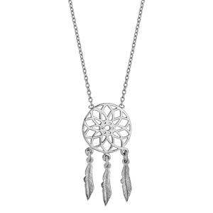 Collier en argent rhodié chaîne avec pendentif attrape rêve avec 3 plumes suspendues - longueur 37cm + 4cm de rallonge - Vue 2