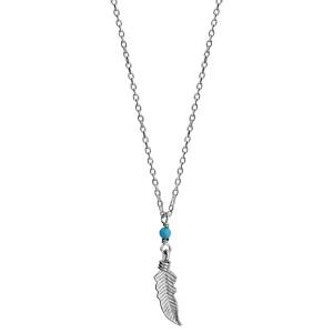Collier en argent rhodié chaîne avec pendentif petite plume et 1 boule turquoise - longueur 37cm + 4cm de rallonge - Vue 2