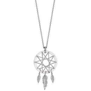 Collier en argent rhodié chaîne avec pendentif attrape rêve avec tour en céramique blanche, milieu en chaînettes et 3 plumes suspendues - longueur 42cm + 3cm de rallonge - Vue 2