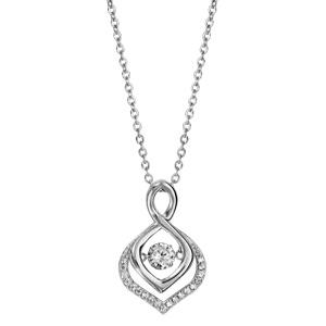Collier Dancing Stone en argent rhodié chaîne avec pendentif vrillé se finissant en pointe ornée d\'oxydes blancs - longueur 42cm + 3cm de rallonge - Vue 2