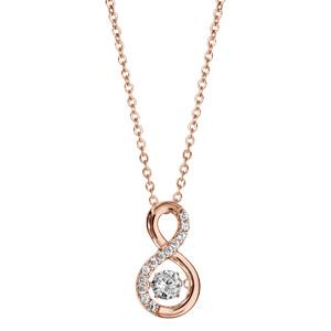 Collier Dancing Stone en argent et dorure rose chaîne retenant pendentif symbole infini orné d\'oxydes blancs - longueur 42cm + 3cm de rallonge - Vue 2