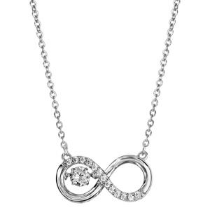 Collier Dancing Stone en argent rhodié chaîne avec pendentif symbole infini orné d\'oxydes blancs - longueur 42cm + 3cm de rallonge - Vue 2