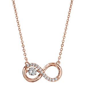 Collier Dancing Stone en argent et dorure rose chaîne avec pendentif symbole infini orné d\'oxydes blancs - longueur 42cm + 3cm de rallonge - Vue 2