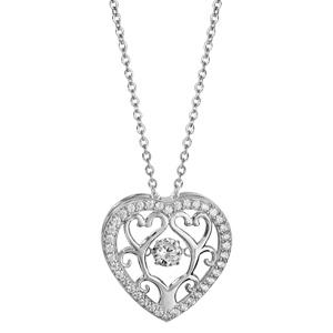 Collier Dancing Stone en argent rhodié chaîne avec pendentif coeur avec arbre de vie à l\'intérieur et oxydes blancs - longueur 42cm + 3cm de rallonge - Vue 2
