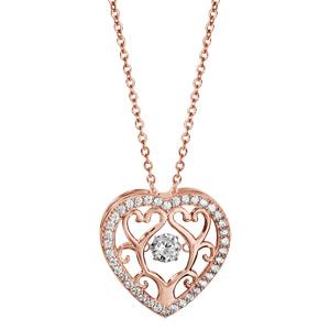 Collier Dancing Stone en argent et dorure rose chaîne avec pendentif coeur avec arbre de vie à l\'intérieur et oxydes blancs - longueur 42cm + 3cm de rallonge - Vue 2