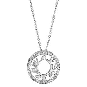 Collier Dancing Stone en argent rhodié chaîne avec pendentif rond arbre de vie orné d\'oxydes blancs - longueur 42cm + 3cm de rallonge - Vue 2