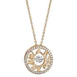 Collier Dancing Stone en argent et dorure jaune chaîne avec pendentif rond arbre de vie orné d\'oxydes blancs - longueur 42cm + 3cm de rallonge - Vue 2
